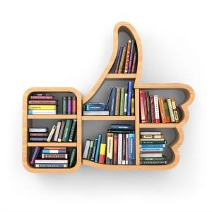 Education concept. Bookshelf with books as like symbol. 3d